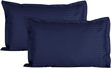 Trance Home Linen 100% Cotton Pillow Covers (20X30-inch XL, Navy Blue) - Pack of 2