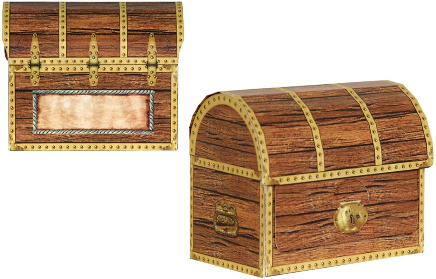 48 Brown Pirate Birthday Party 3D Treasure Chest Favor and Treat Boxes 4.25