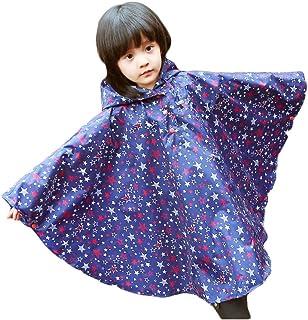 f55a532562d Dingcaiyi Niños con Capucha Azul Estrellas Capa del Poncho de Lluvia  Impermeable a Prueba de Agua