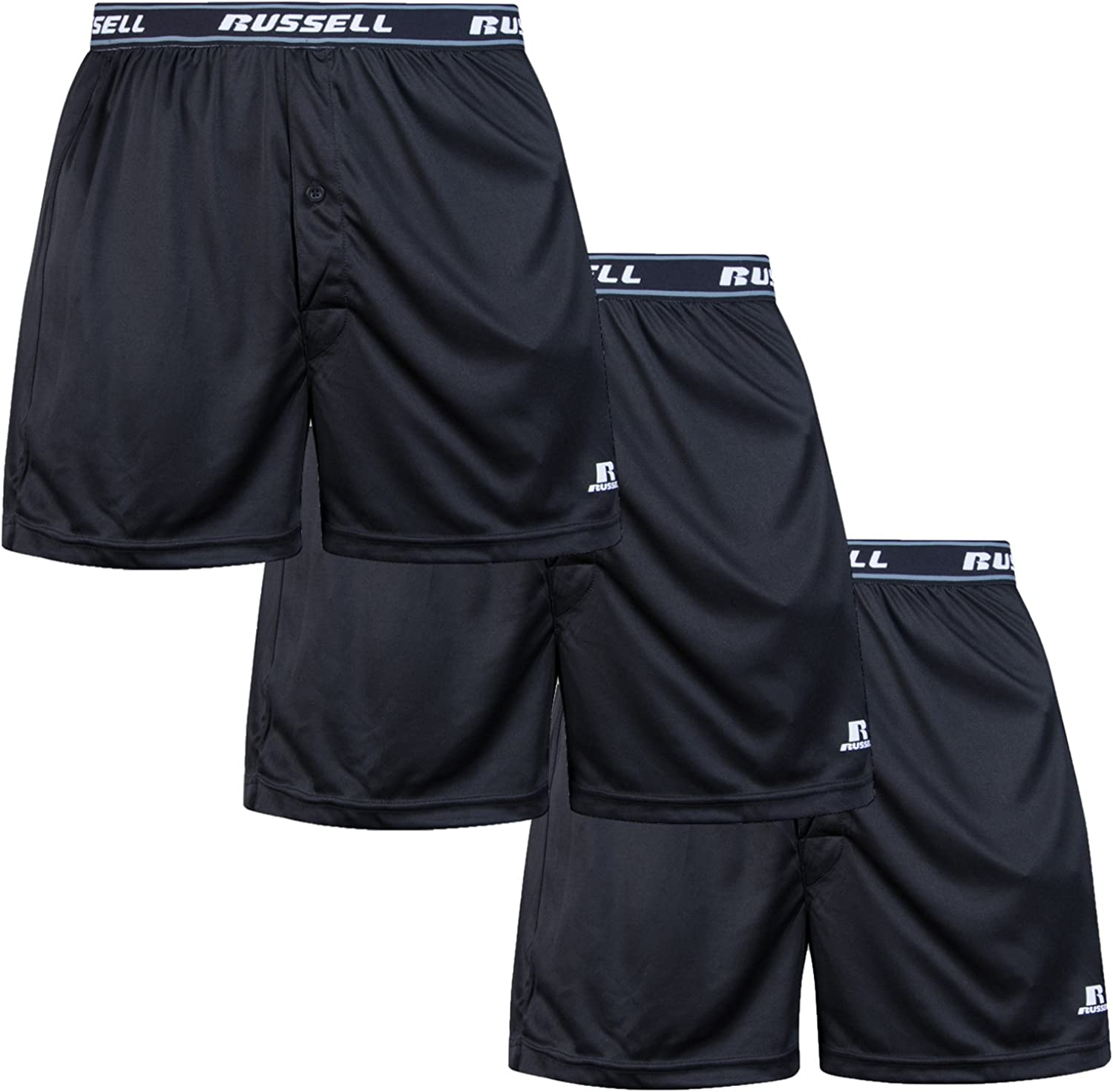 Russell Athletic Mens Big and Tall Soft Essential Boxer Brief Underwear (3 Pack) Black