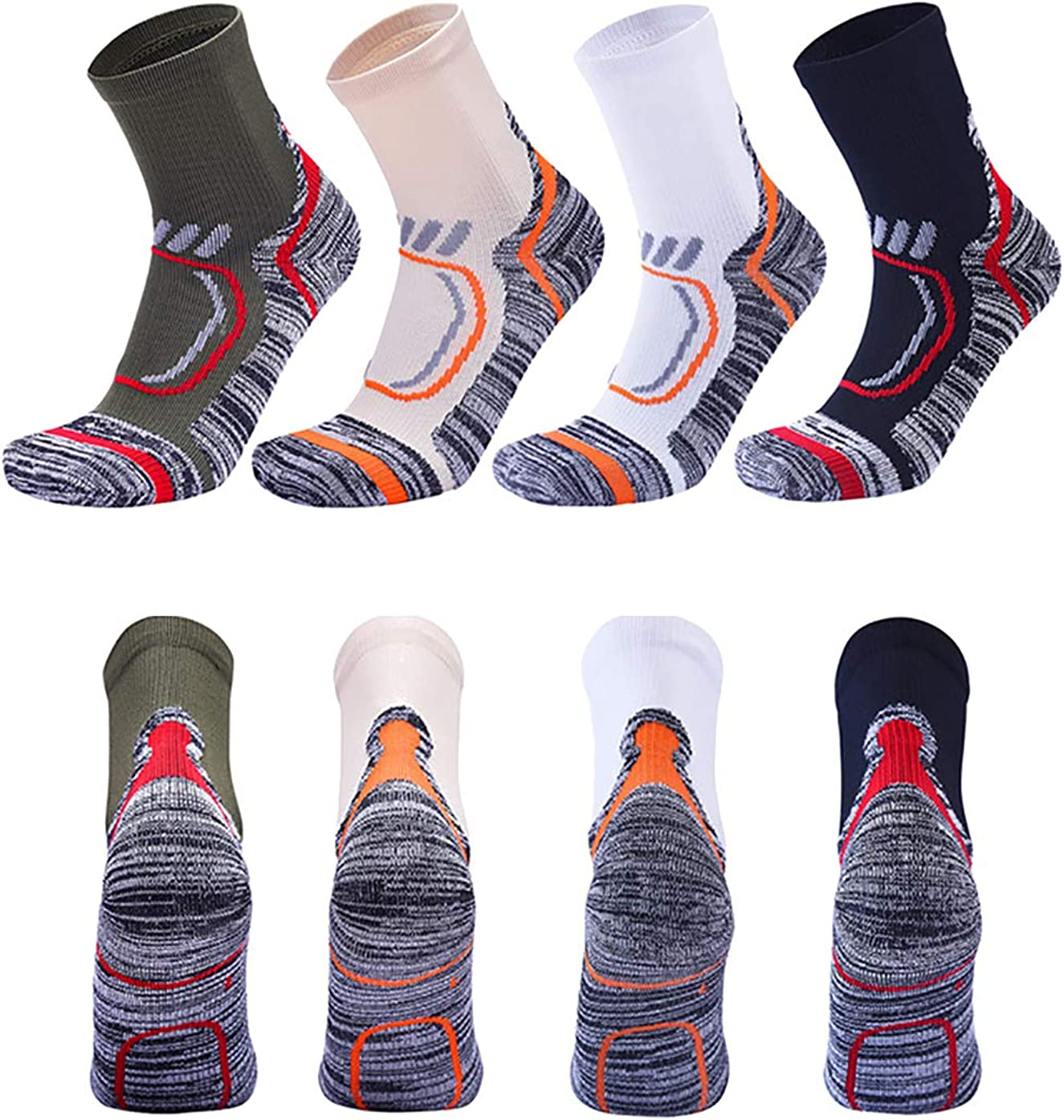 Socks Ankle Compression Sock for Men and Women 4 Pairs, Compression Running Sock with Ankle Support