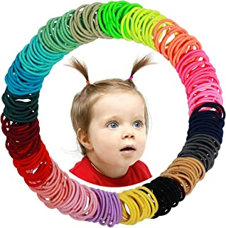 WillingTee 200 Pieces Multicolor Baby Girls Hair Ties Finger Hair Ties No Crease Hair Bands Ponytail Holder for Baby Girls...