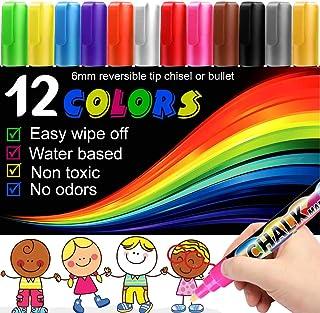 Chalk Markers -12PCS Premium Chalkboard Chalk Pens Non Toxic, Dustless, Best for Blackboard, Window, Glass, Bistro, 6mm Re...