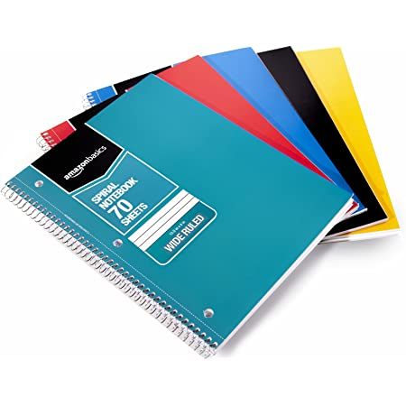 Amazon Basics Wide Ruled Wirebound Spiral Notebook, 70 Sheets, Assorted Solid Colors, 5-Pack