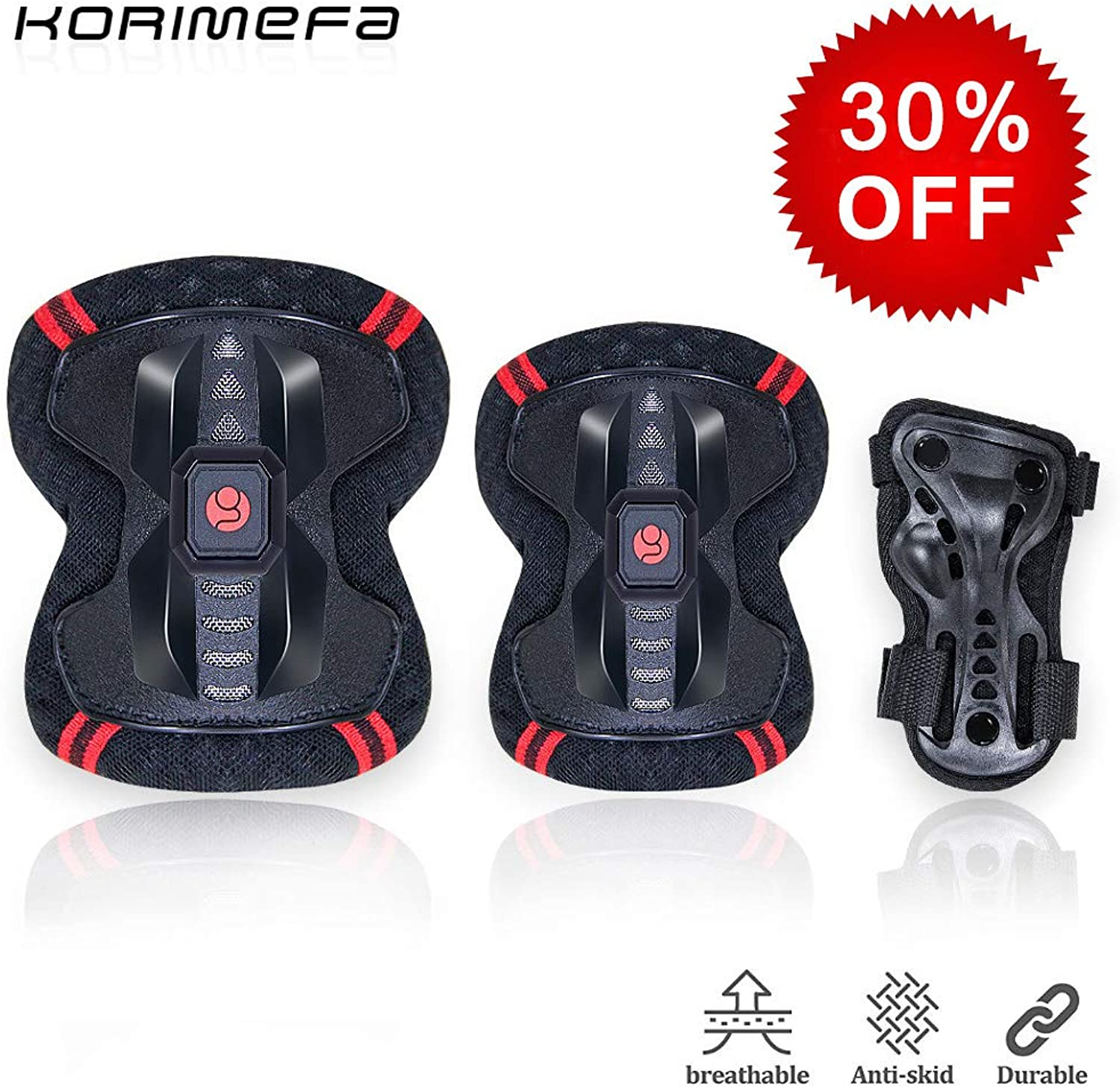 KORIMEFA Kids Predective Gear Set Knee Pads Elbow Pads with Wrist Guards for Kids 3 in 1 Kids Teen keen Pads for Skating Cycling Bike Rollerblading Scooter
