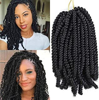 8 Pack Spring Twist Crochet Hair Ombre Bomb Twist Crochet Braids 8 Inch Fluffy Synthetic Braiding Hair Extensions 55g/pack (1B)