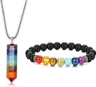 Jstyle 7 Chakra Gemstone Healing Pendant Necklace for Men Women 8mm Lava Rock Natural Stone Chakra Diffuser Bracelets Yoga...