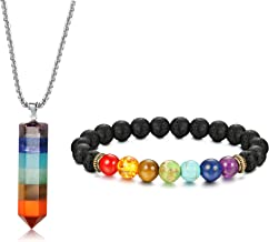 Jstyle 7 Chakra Gemstone Healing Pendant Necklace for Men Women 8mm Lava Rock Natural Stone Chakra Diffuser Bracelets Yoga Beads Bracelet