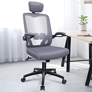 ENGBER Ergonomic Office Chair Home - Computer Desk Chairs Lumbar Support, Mesh High-Back Task Chair with Flit-up Arms