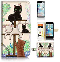 ( For iPhone 8 Plus / 7 Plus ) Flip Wallet Case Cover and Screen Protector Bundle A1944 Cat