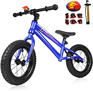 Diwenhouse Kids Balance Bike - Toddler Training Balance Bike for Boys and Girls Ages 2 to 6 Years Include 12 inch Inflatable Wheels, Bicycle Pump, Helmet, Bell and Protective Kits