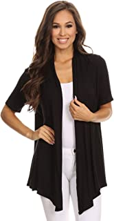 Women's Solid Print Casual Comfy Short Sleeves Open Front Draped Cardigan/Made in USA