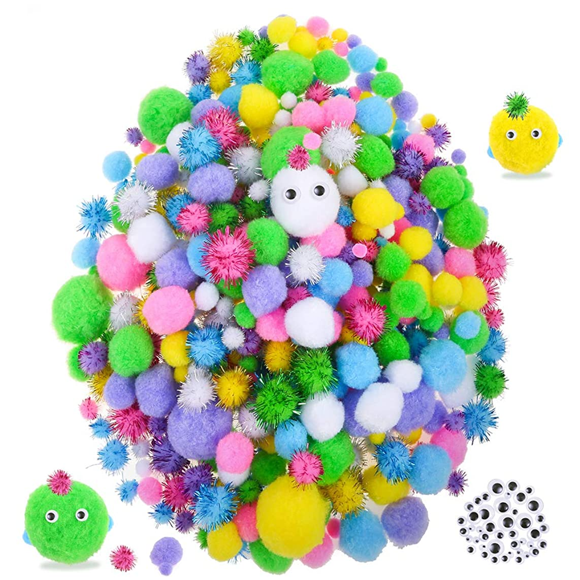 Caydo 600 Pieces Fuzzy 6 Sizes Easter Egg Assorted Pompoms, 4 Sizes Glitter Pompoms and 3 Sizes Wiggle Googly Eyes for Easter Day DIY Crafts Decorations