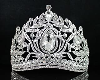 Janefashions Fantastic Clear Austrian Crystal Rhinestone Princess Queen Tiara Crown Hair Combs Head Jewelry Prom Pageant T1855 Silver