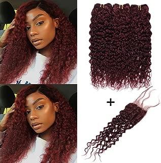 XCCOCO Hair 99j# Burgundy Water Wave Human Hair 3 Bundles with Lace Closure Brazillian Virgin Wine Red Wet and Wave Hair Bundles with Closure 100% Human Hair(22 22 24+20inch Closure)