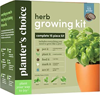 Planters' Choice Herb Growing Kit + Herb Grinder - Complete Kit to Easily Grow 4 Herbs from Seed (Basil, Cilantro, Chives ...