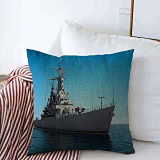 Throw Pillows Cover 16 x 16 Inches Blue American Modern Warship High Seas Industrial Ship Gray Battleship Aggression 3D America Industry Cushion Case Cotton Linen for Fall Home Decor