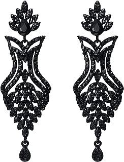 EVER FAITH Women's Rhinestone Crystal Art Deco 1920s Wedding Vase Flower Leaf Teardrop Earrings