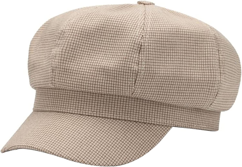 Beret Octagonal Hat for Women Plaid Newsboy Cap Vintage Fashion Cap Women Cotton Ladies Hats Spring Autumn