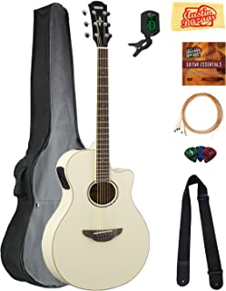 Yamaha APX600 Thin Body Acoustic-Electric Guitar - Vintage White Bundle with Gig Bag, Tuner, Strings, Strap, Picks, Austin Bazaar Instructional DVD, and Polishing Cloth