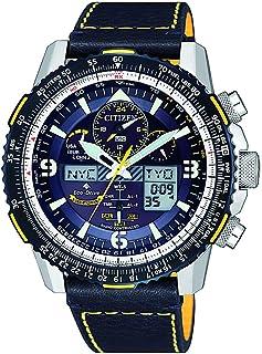ساعة سيتيزن للرجال تعمل بالطاقة الشمسية - انالوج - رقمية بسوار جلدي - JY8078-01L