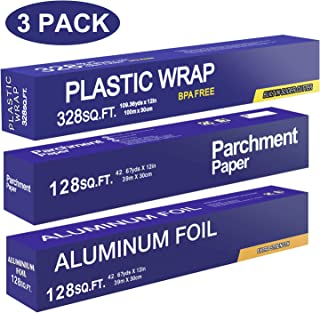 Baking Parchment Paper 128 SQ FT, Standard Aluminum Foil Paper 128 SQ FT, Quick Cut Plastic Food Wrap 328 SQ FT, 3 Packs