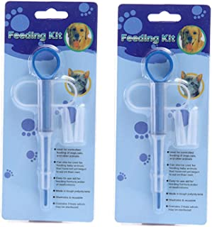 LIXIN Pet Medicine Feeder (2 Pack) Cat Dog Puppy Soft Tip Medical Feeding Versus Control Rods,Pet Pill Dispenser Suit