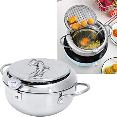 Deep Fryer, Japanese Style Deep Frying Pot Stainless Steel Frying Pan with Thermometer Lid Kitchen Cookware Fryer for French