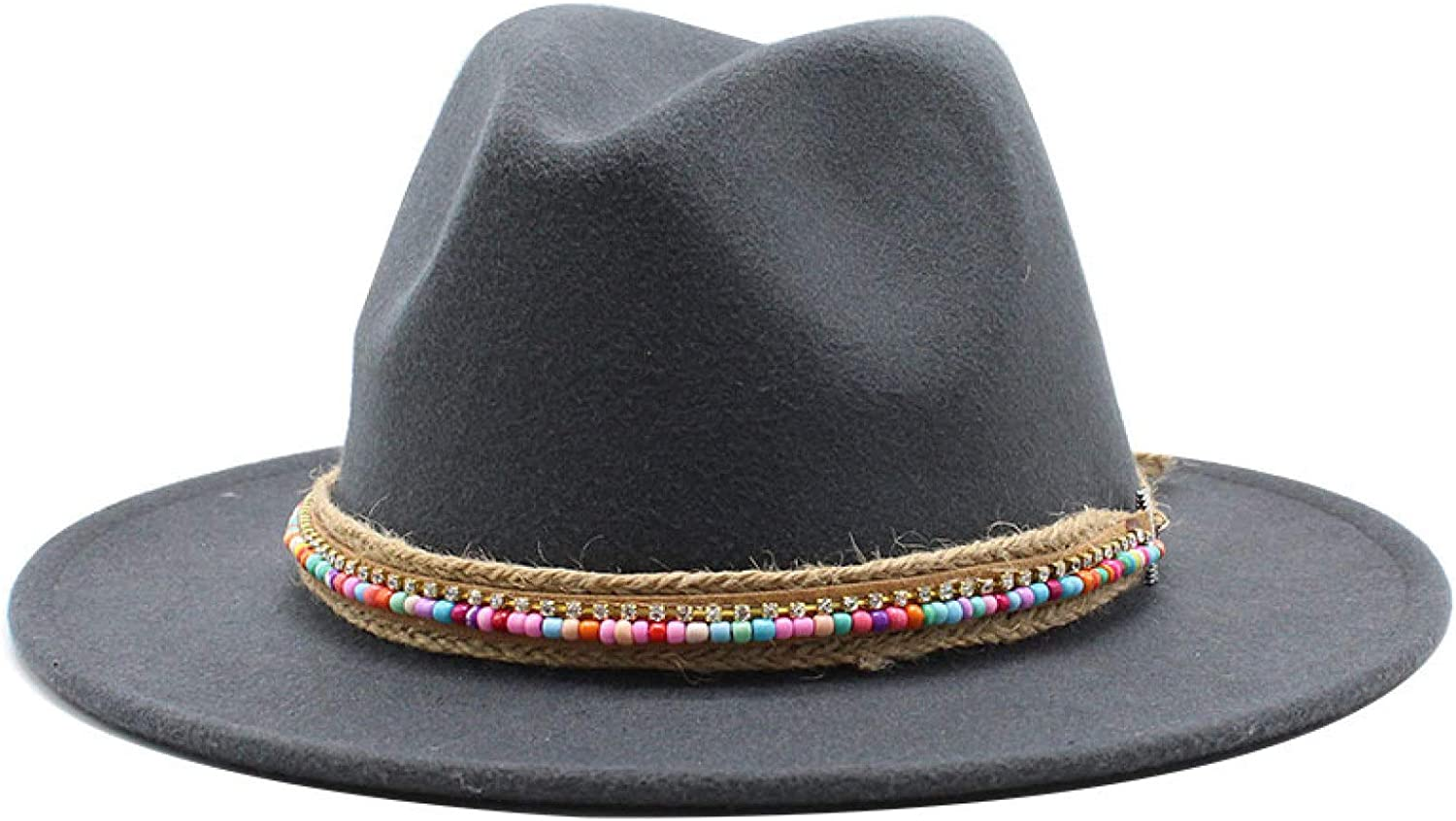 ASO-SLING Candy Color Panama Hats for Lady Wool Wide Brim Fedora Hat 1920s Trendy Jazz Hat for Church Party