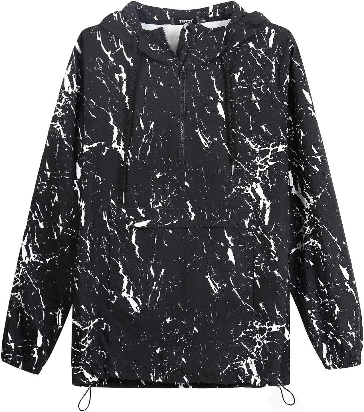 TATT 21 Men Printed Active Hoodies Paint Pattern Lightweight Windbreaker Pullover Half Zip Hooded