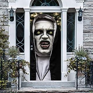 Anphsin Halloween 3D Nun Door Stickers, 30 x 80 Inches Horrible Ghost Nun Lifelike Door Wallpaper Sticker for Halloween De...