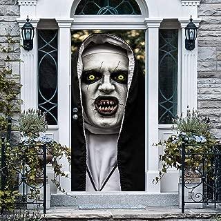 Anphsin Halloween 3D Nun Door Stickers, 30 x 80 Inches Horrible Ghost Nun Lifelike Door Wallpaper Sticker for Halloween Decoration, Party Decors