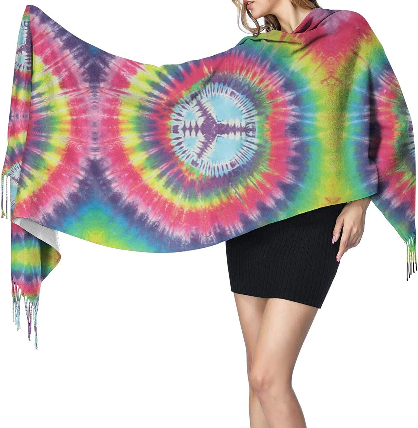 Rainbow Peace Sign Cashmere Feel Scarf Lightweight Soft Scarfs For Boys Girls Creative Warm Cold Weather Blanket Scarf