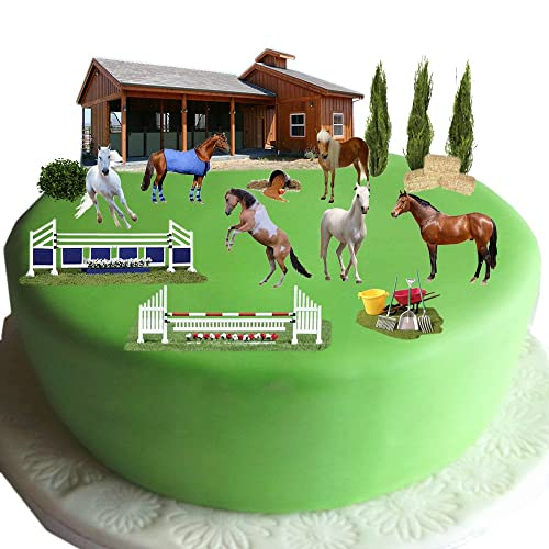 Equestrian Horse Pony Cake Scene Made From Edible Wafer Paper