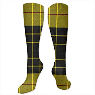 XiaoShuia Classic MacLeod Plaid Turkey Red On Grand Tour(3876) Compression Socks for Women & Men-Over The Knee Socks Best for Running, Athletic, Medical, Pregnancy and Travel