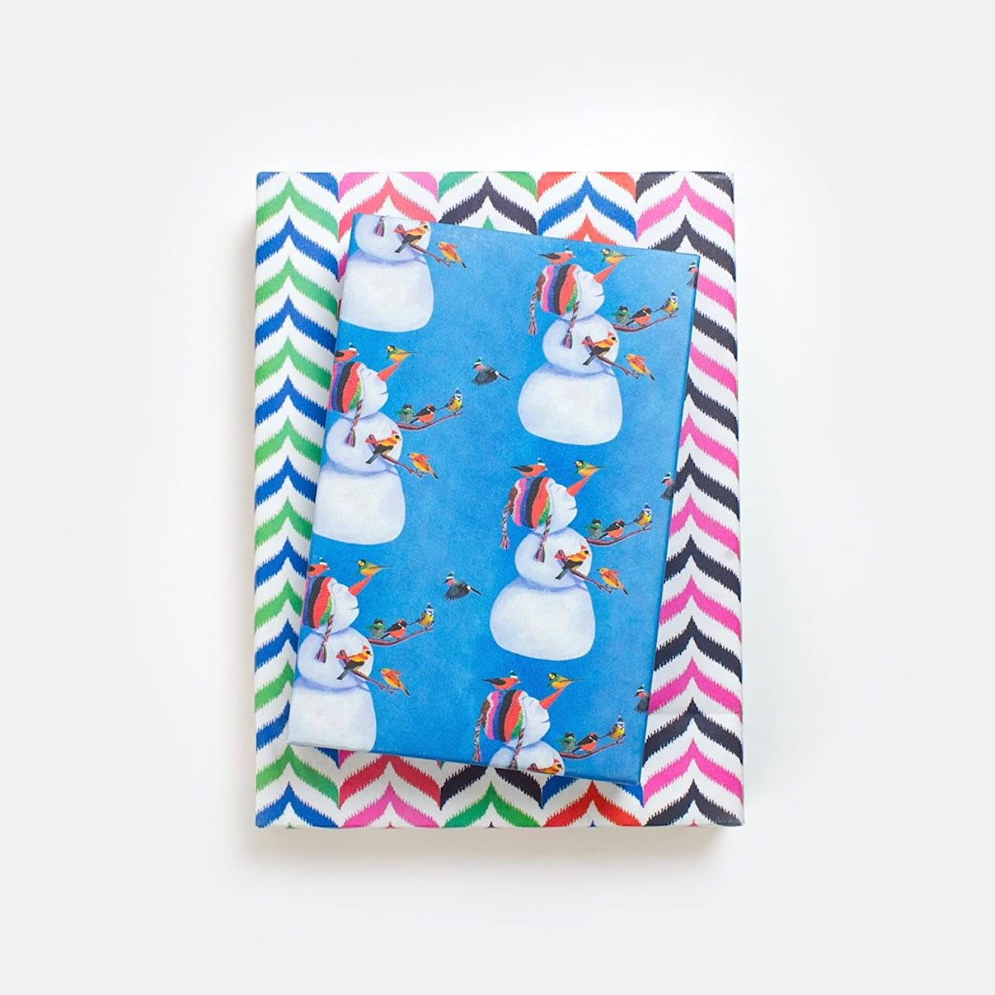 Snowman and Birds - Reversible Winter Wrapping Paper - Eco Gift Wrap Allport Editions x Wrappily