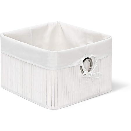 Relaxdays Corbeille Panier de rangement Housse amovible poignée Boîte de stockage étagère armoire H x l x P 20 x 31 x 31 cm- blanc