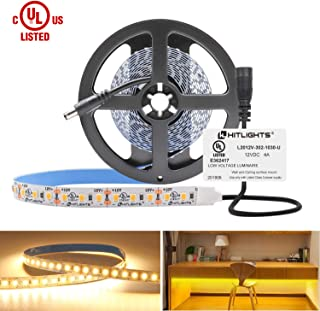 HitLights Warm White LED Strip Lights, UL-Listed Premium High Density 2835 LED Lights - 10 Feet, 360 LEDs, 3000K, 828 Lumens 5.6 Watts/Foot, 12V DC LED Tape Light