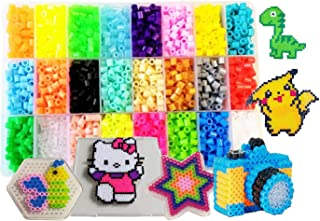 Bolin Fuse Bead Craft Kit 4300+ Pcs 5mm 24 Colors Perler Beads with Pegboards Tweezers, Peg Boards, Ironing Paper Accessories for Boys Girls 5 6 7 8 Age Children's Educational Crafts Gift