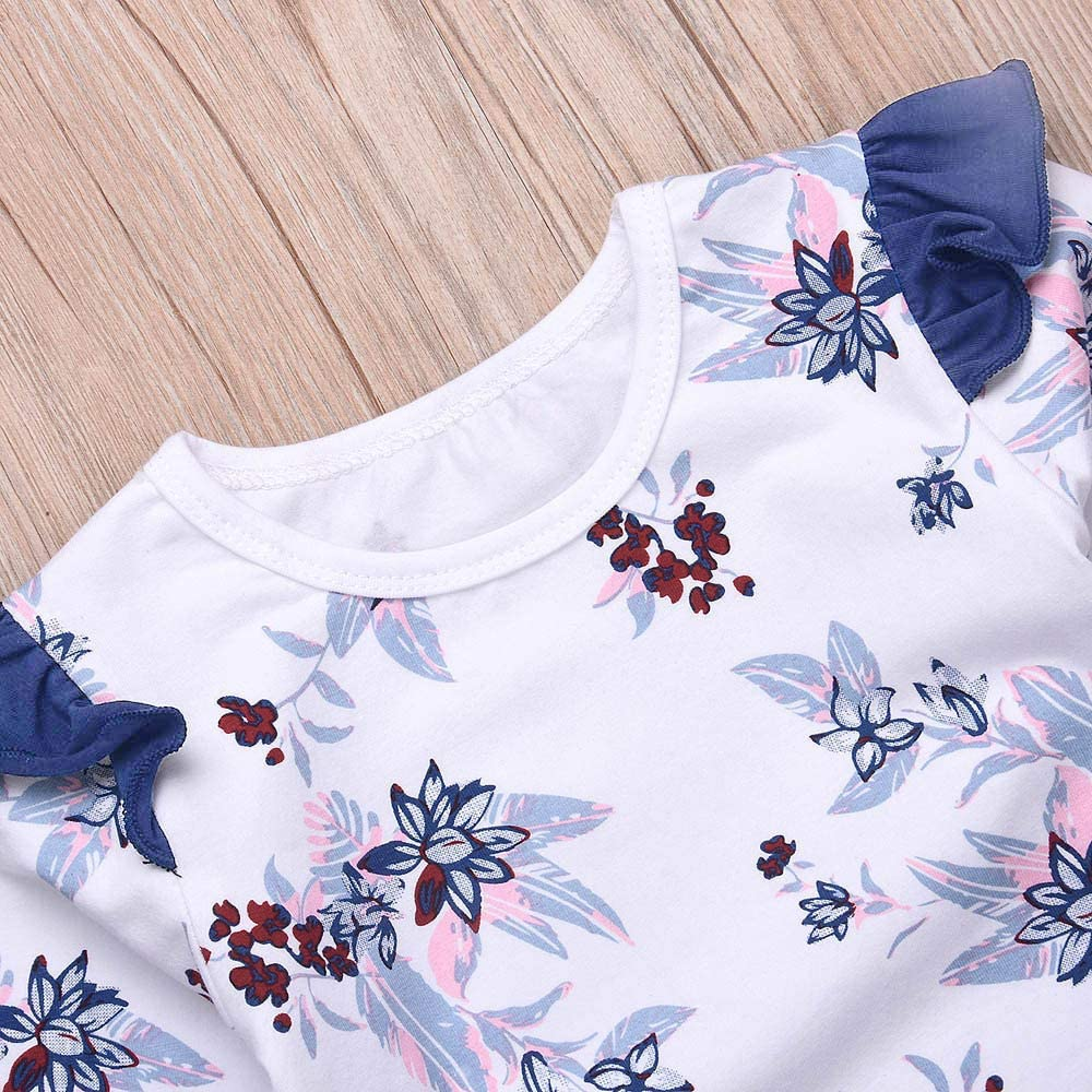 Baby Girls Skirt Sets Summer Boho Floral Romper Denim Suspender Skirt Overall Dress Outfits Clothes