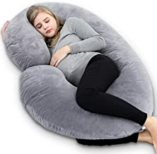 Kuber Industries Cotton Ultra Soft Hollow Fibre C Shaped Maternity Pillow,Pregnancy Pillow,Body Pillow with Zippered Cover (Grey)-CTKTC39239