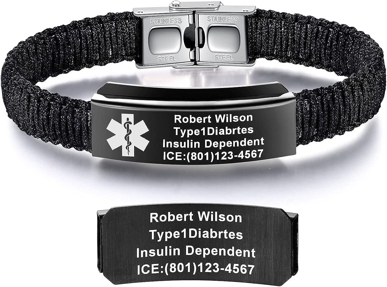 JFJEWER Medical Bracelet for Women Personalized | Customizable Engraved Medical Alert ID Bracelet for Men Girls & Boys | Nylon Rope Handmade Braided Bracelets, Adjustablet