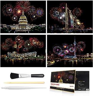 キッズと大人向けのスクラッチ&スケッチアートペーパー(A4)、レインボーガールズフラワーペインティングスクラッチボード、アート&クラフト、彫刻アートセット:4枚のスクラッチカードとスクラッチドローイングペン、クリーンブラシ (Fireworks)