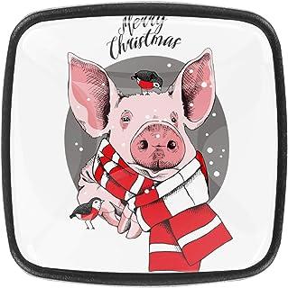Cochon et oiseau rose 4 PCS Tiroir de Porte Poignée, Bouton de Meubles, Boutons de Tiroir, Boutons de Porte, Poignées de M...