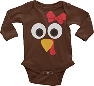 Threadrock Baby Girls` Turkey Face with Big Red Bow Long Sleeve Infant Bodysuit