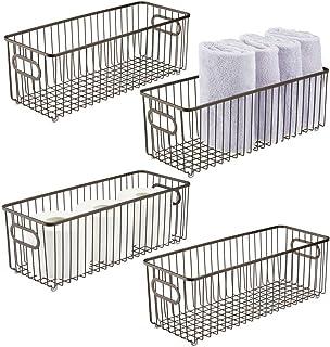 mDesign panier de rangement en en métal avec poignées intégrées (lot de 4) – boîte en métal profonde au design moderne – p...