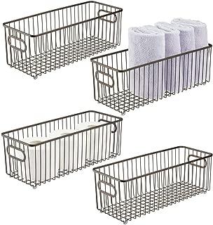 mDesign Deep Metal Bathroom Storage Organizer Basket Bin - Farmhouse Wire Grid Design - for Cabinets, Shelves, Closets, Vanity Countertops, Bedrooms, Under Sinks - 4 Pack - Bronze