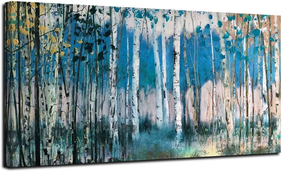 Acocifi Birch Trees Canvas Wall Art Abstract Blue Forest Painting Nature Landscape Picture Artwork Print Woods Framed for Living Room Bathroom Bedroom Decor Home Office 48