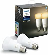 Philips Hue White Ambiance Smart Bulb Twin Pack LED [E27 Edison Screw] with Bluetooth 8.5W = 60W [Energy Class A +] , Comp...
