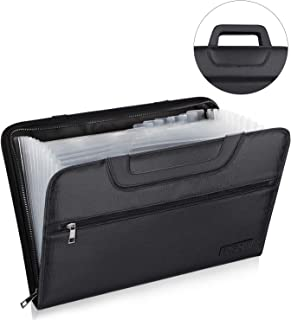 ENGPOW Expanding File Folder with Portable-Handle Document Organizer Briefcase Business Filing Bag A4 and Letter Size 13 Pockets Labels Zipper Closure Fireproof Non-Itchy Silicone Coated